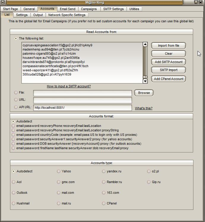 2 - Mailer King Bulk Email Sender - Accounts - List